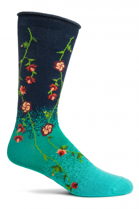 Tibetan Flowers Ozone Trouser Socks Navy New Women's XL