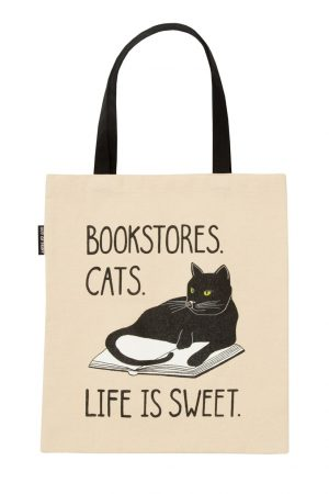 Bookstore Cats Out Of Print Book Cover Canvas Tote Bag