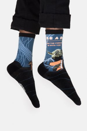 Yoda Star Wars Read Out of Print Unisex Large Crew Socks