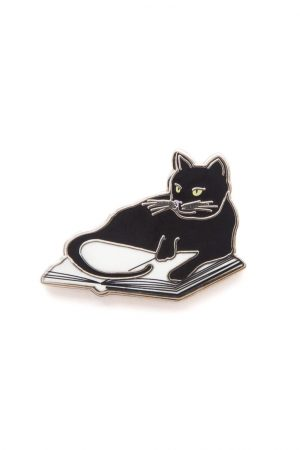 Bookstore Cats Out Of Print Enamel Lapel Pin