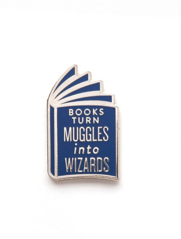 Books Turn Muggles into Wizards Out Of Print Enamel Lapel Pin