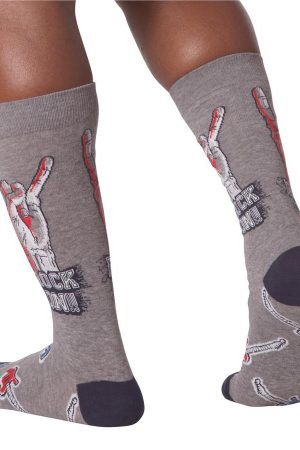Rock On K Bell Men's Crew Socks Charcoal