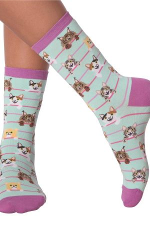 Cat Stripes K Bell Women's Crew Socks