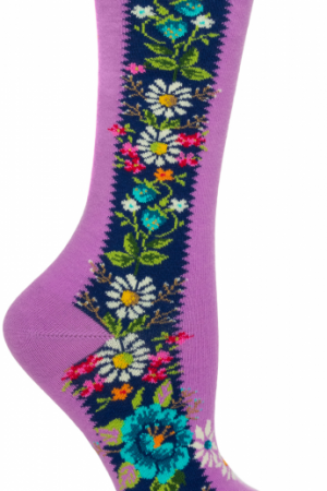 Folklore Bouquet Ozone Women's Crew Socks Violet