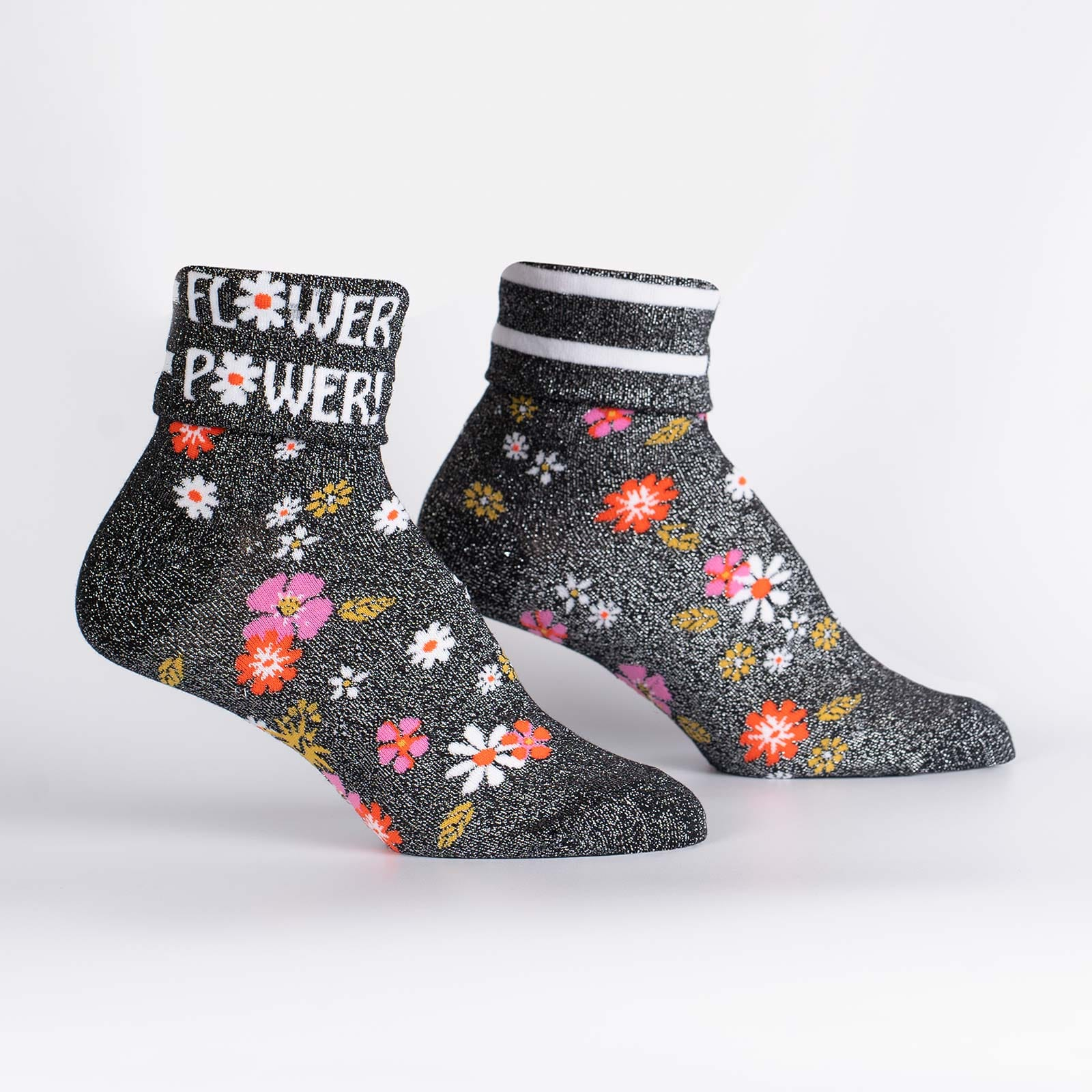 Flower Power Sock It To Me Women's Turn Cuff Crew Socks