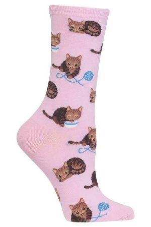 Cat & Yarn Hot Sox Women's Crew Socks Pet Pink
