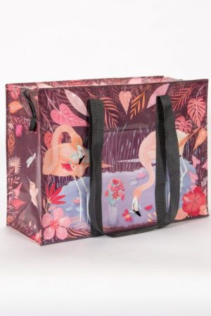 "Flamingo Blue-Q Shoulder Tote New Re-Usable 11""h x 15""w x 6.25"" Zipper"