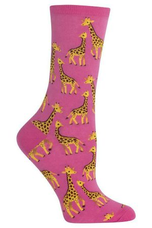 Giraffe Mom & Baby Hot Sox Women's Crew Socks Pink