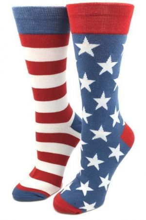 Vintage USA Sock Harbor Women's Crew Socks New Colorful Novelty Patriotic Flag