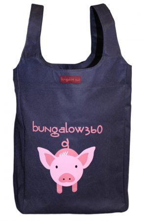 "Pig Bungalow360 Big Bag Tote New Re-Usable 16.5""h x 12""w x 7""d"