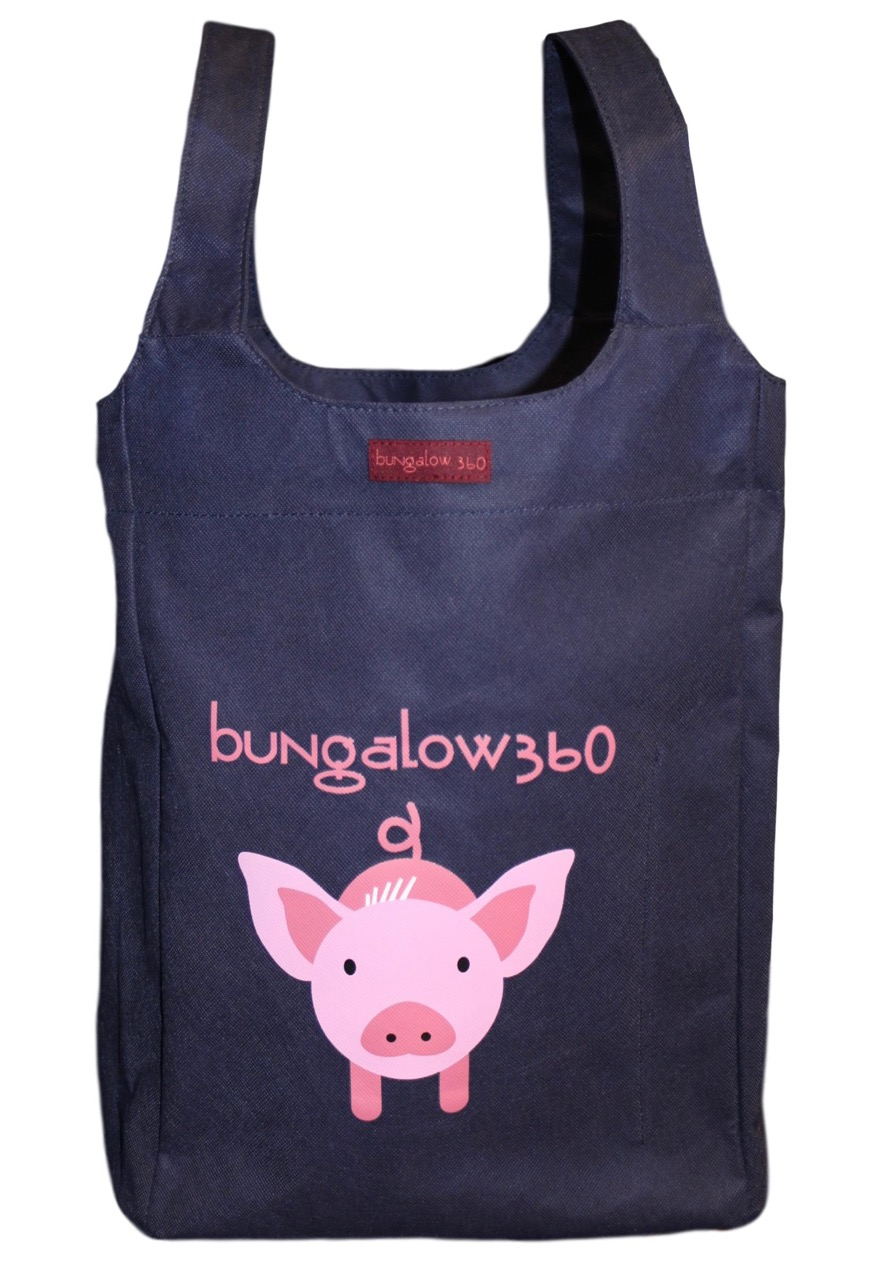 """Pig Bungalow360 Big Bag Tote New Re-Usable 16.5""""h x 12""""w x 7""""d"""