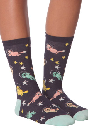 Space Cats K Bell Women's Crew Socks New Navy