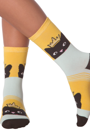 Peeking Cat K Bell Women's Crew Socks Yellow