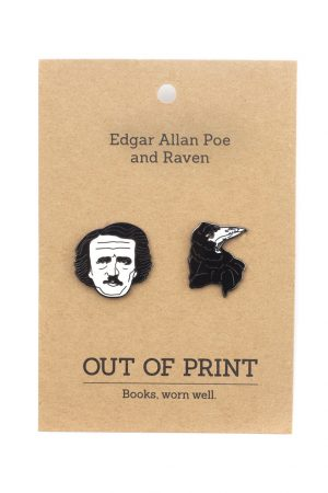 Edgar Allan Poe and Raven Out Of Print Enamel Lapel Pin Set