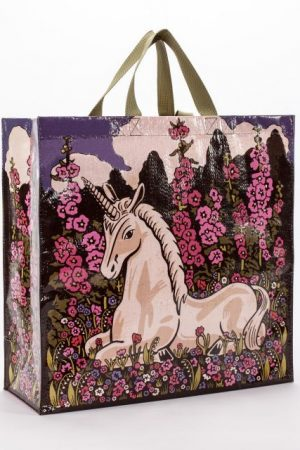 "Unicorn Blue-Q Shoppers Tote New Re-Usable 15""h x 16""w x 6"""