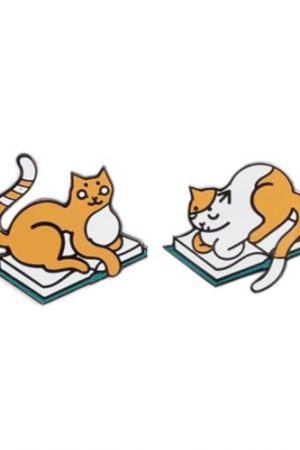 Curl Up with a Book Cats Out Of Print Enamel Lapel Pin Pair Set