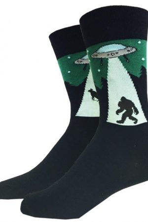 UFO Bigfoot Sock Co. Unisex Crew Sock New M/L Novelty Alien Outer Space