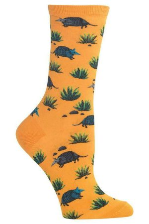 Armadillo's Hot Sox Women's Crew Socks Mango New