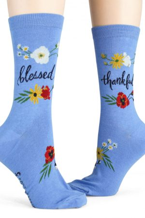 Blessed Foot Traffic Women's Crew Socks Blue