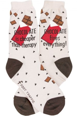 Chocolate Foot Traffic Women's Crew Socks Taupe New Novelty Sweet Therapy Fashion