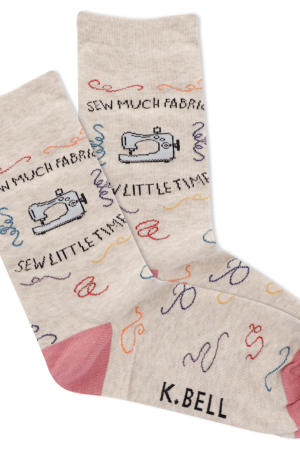 Sew Much Fabric K Bell Women's Crew Socks Oatmeal Heather
