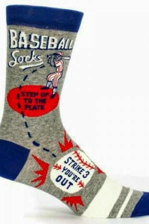 Baseball Blue-Q Men's Crew Socks New Novelty Play Ball Batter Up