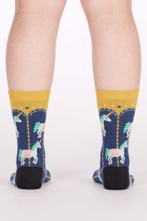 Carousel Unicorns Sock It To Me Women's Crew Socks New