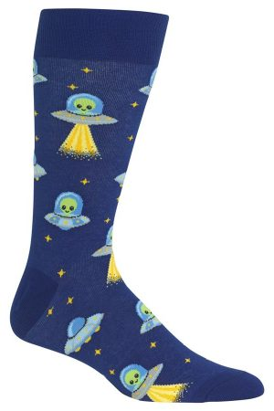 Alien Transport Hot Sox Men's Crew Socks Dk Blue