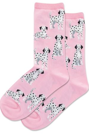 Dalmatian Dogs Hot Sox Women's Crew Socks Pink