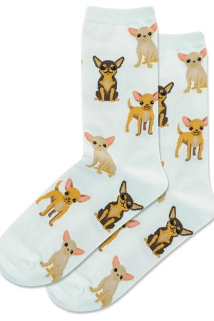 Chihuahua's Hot Sox Women's Crew Socks Lt Blue New