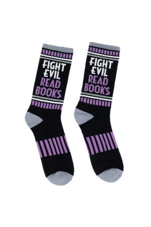 Fight Evil, Read Books Out of Print Unisex Small Crew Socks